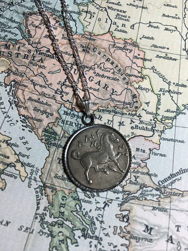 350BC Ancient Greek Reproduction Coin Horse Pendant Necklace