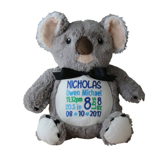 Personalized Koala Bear Stuffed Plush Animal Custom Embroidery Etsy