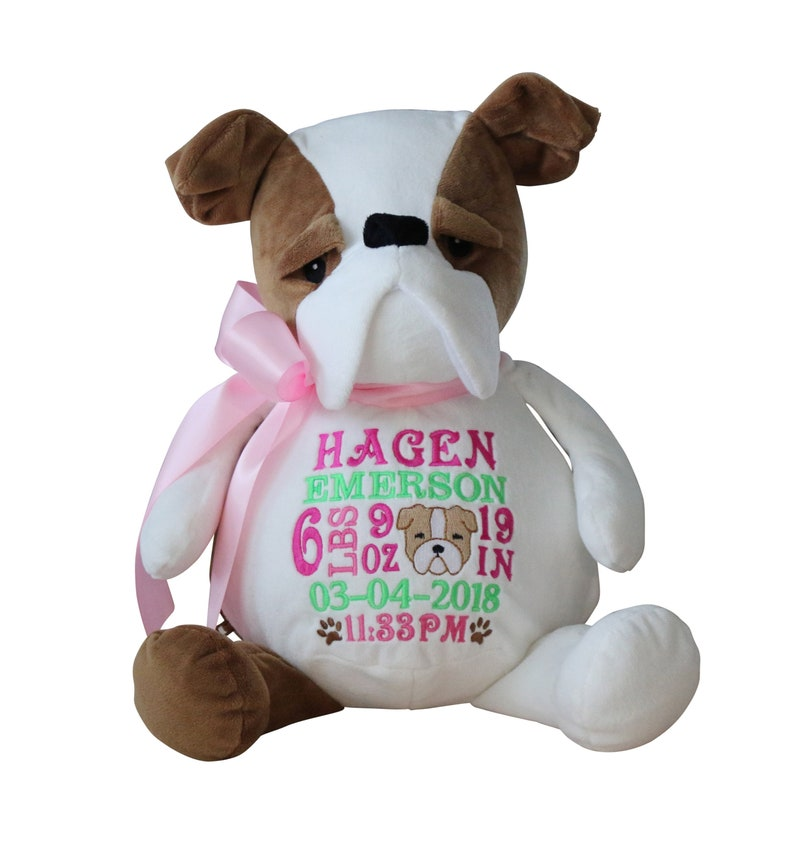 Personalized Bulldog Stuffed Animal Custom Embroidery Embroider Buddy Gift