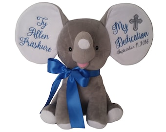 Personalized Baby Baptism Gift, Baby Christening Gift, Baby Dedication Cross, Plush Elephant Stuffed Animal