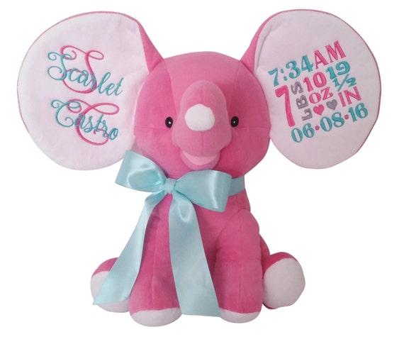 Personalized Stuffed Animal Plush Elephant Baby Birth Etsy