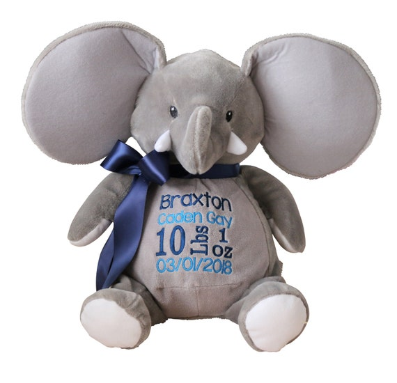 Personalized Birth Announcement Grey Elephant Stuffed Animal Plush