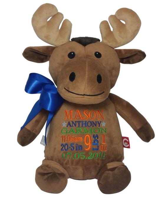 Personalized Moose Stuffed Plush Animal Custom Baby Gift Etsy