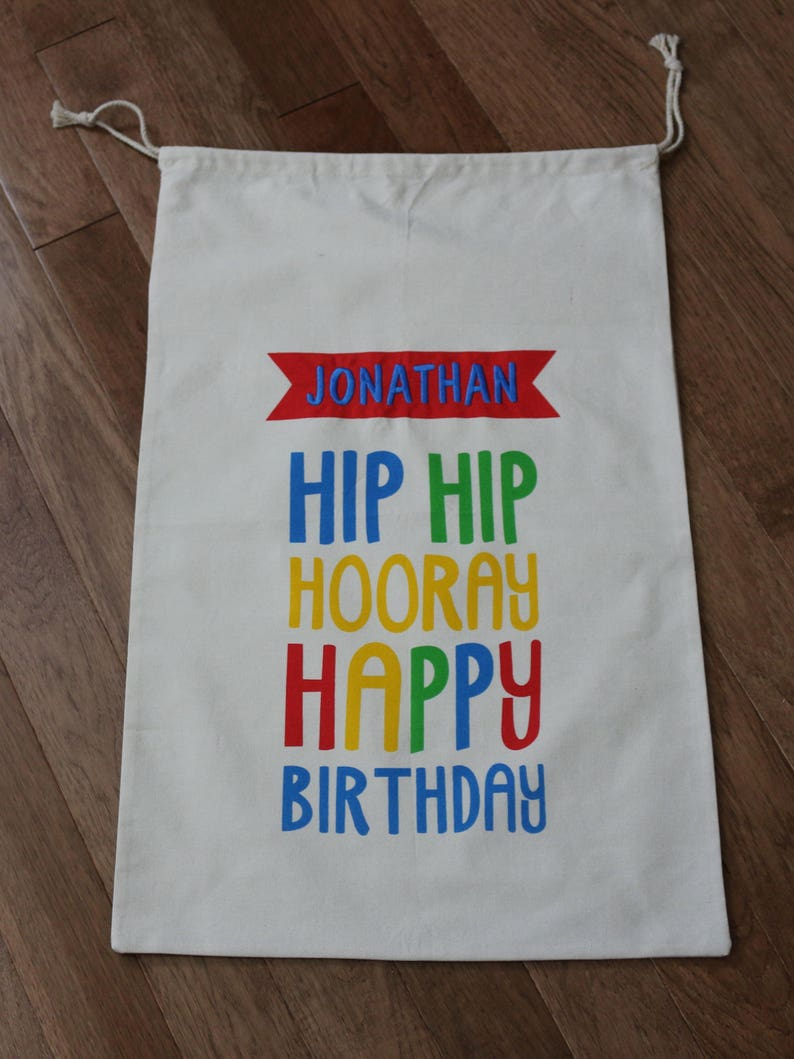 Happy Birthday Gift Bags Canvas Sacks Personalized Name