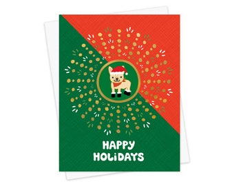 berry merry gold foil christmas cards box of 8 foil stamped etsy