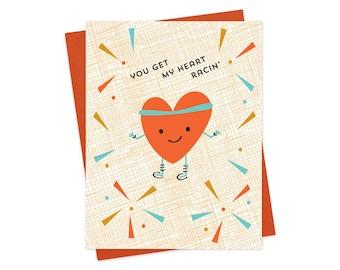 racin' heart - love card - anniversary card - valentine - oc990