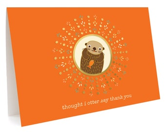 Otter Thank You Notes, Box of 5 -  Foil Stamped, Folded Thank You Cards - OC1068-BX