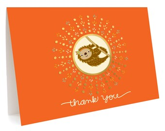 Sloth Thank You Notes, Box of 5 -  Foil Stamped, Folded Thank You Cards - OC1070-BX