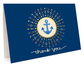 Anchor Thank You Notes, Box of 5 - Foil Stamped, Folded Thank You Cards - OC1067-BX