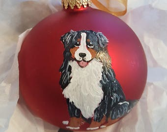 Bernese Mountain Dog Sitting Berner Hand Painted Christmas Ornament - Can Be Personalized with Name