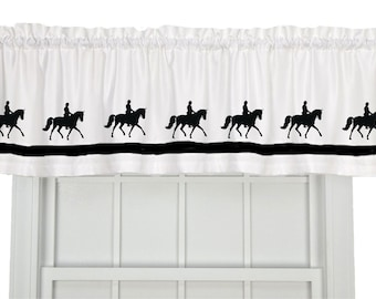Dressage Horse Window Valance Curtain