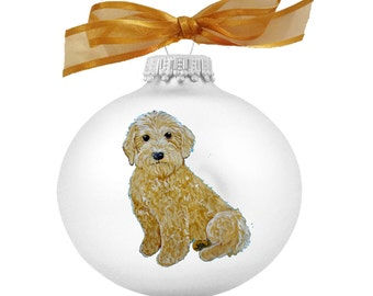 goldendoodle labradoodle puppy dog hand painted christmas ornament can be personalized with name