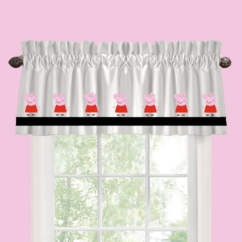 Peppa Pig Inspired Window Valance Curtain Your Choice Of Colors