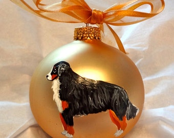 Bernese Mountain Dog Berner Hand Painted Christmas Ornament - Can Be Personalized with Name