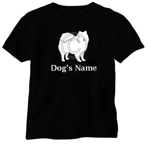 american eskimo dog personalized t shirt with dog s name etsy