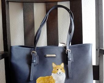 Pembroke Welsh Corgi Dog Painted Tote/ Purse / Handbag / Wearable Art - One of a Kind