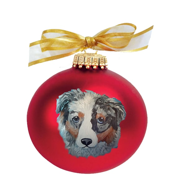 Australian Shepherd Christmas Ornament.Australian Shepherd Cutie Face Dog Hand Painted Christmas Ornament Can Be Personalized With Name