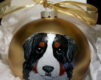 Bernese Mountain Dog Cutie Face Hand Painted Christmas Ornament - Can Be Personalized with Name