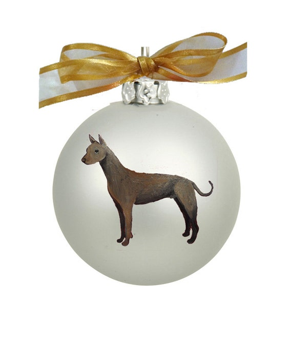 Miniature Australian Shepherd Dog Hand Painted Christmas Ornament Can Be Personalized with Name