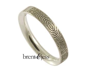 3mm Narrow Comfort Fit Fingerprint Wedding Ring with  Your Actual Fingerprint on the Outside - Sterling Silver Fingerprint Ring