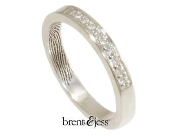 Diamond Fingerprint Wedding Ring Custom 3mm band