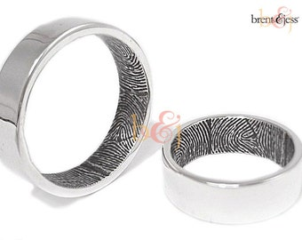 Set of Custom Fingerprint Wedding Bands with Two Wrapped Prints on the Inside - Sterling Silver