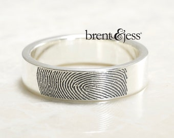 Handmade, Unique, Flat, Fingerprint Wedding Band, With Your Actual Fingerprint in Sterling Silver