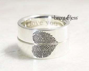 Heart Wedding band, unique wedding band set, fingerprint wedding ring set, you complete me wedding bands