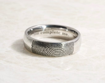 Actual Fingerprint Ring made in Stainless Steel, wedding band