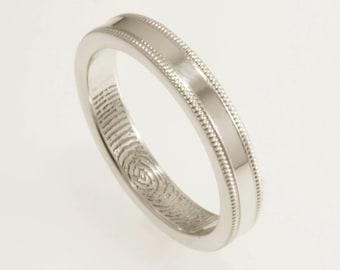 Traditional Narrow Milgrain Edge Interior Fingerprint Wedding Band Sterling Silver