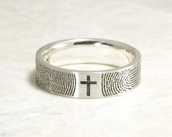 You&Me Forever With A Cross And Your Actual Fingerprint,  Wedding Ring in Sterling Silver Handmade in the USA Comfort Fit