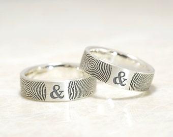 You & Me Forever Fingerprint Wedding Band Set in Sterling Silver Both 6mm,Personalized fingerprint rings with your actual fingerprints
