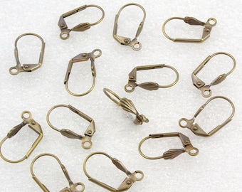 BULK Brass Earwires Antiqued Brass Plate 144 Pieces French Earwires