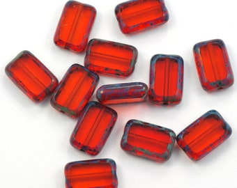 Orange Hyacinth Picasso Czech Glass Rectangle Table Cut Beads 8x12mm - 12