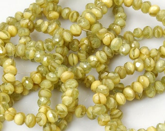 5x7mm Opaque Beige Light Green Givre Donut Rondelle Czech Glass Beads - 25