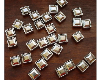 Pewter Beads Antiqued Silver Stud-Style Squares 7-8mm - 30