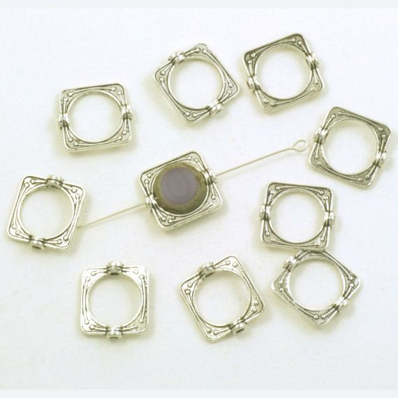 Heart 10 x Silver Plated Bead Frames 14mm