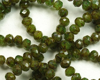 Faceted Green Picasso Czech Glass Donut Rondelles 5x7mm - 25