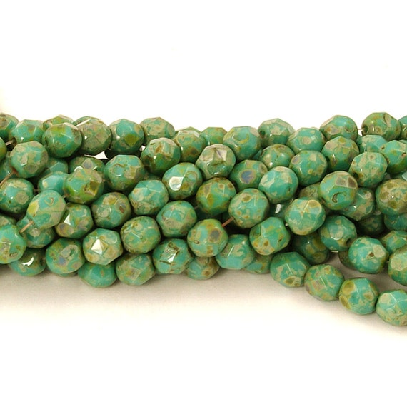 Picasso Full Opaque Turquoise 25 6mm Czech Glass Firepolish Beads