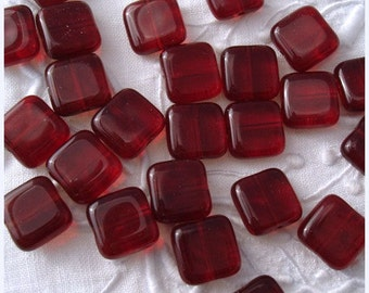 Ruby Red Czech Glass Square Tile Beads 9mm - 25