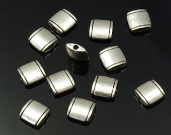 Flat Square Pewter Beads Simple Design 8mm - Set of 12