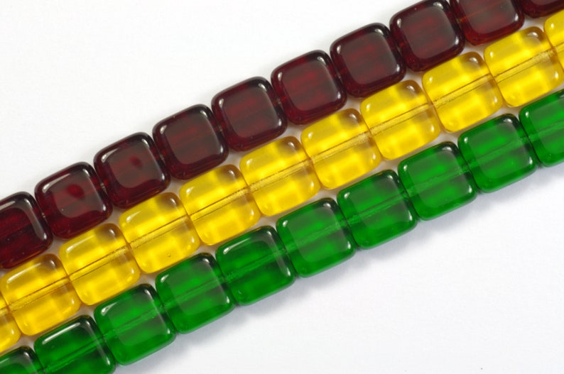 3 Strands 75 Beads Total 3-Strand Mix Tile Beads Siam Ruby Yellow Topaz and Emerald Green 9mm