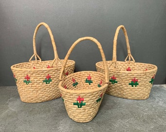 Vintage Woven Wicker Baskets. Nesting Baskets. 3 Handle Baskets. Storage Basket. Gardening. Boho. Straw Baskets.