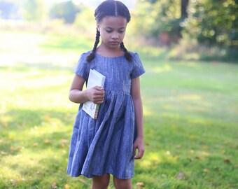 Chambray Linen Dress   Blue Linen Dress   Short Sleeve Dress   Girls Linen Dress   Toddler Linen Dress   Linen Baby Dress   Linen Clothes