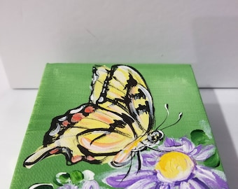 Swallowtail butterfly hand painted on canvas
