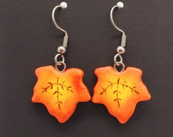 Polymer Clay Fall Leaf Earrings, Yellow and Red Autumn Leaves, Lightweight Earrings, Seasonal Jewelry