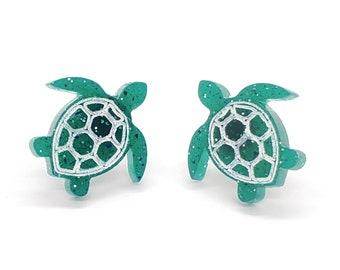Glitter Turtle Stud Earrings, Sparkle Resin Earrings, Fun Gift for Animal Lovers