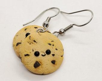 Smiley Chocolate Chip Cookie Earrings, Kawaii Cookie Dangle Earrings, Miniature Food Earrings