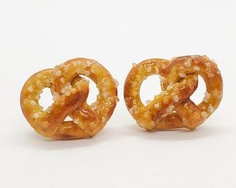 Salted Soft Pretzel Stud Earrings, Miniature Food Earrings, Gift for Snack Lovers