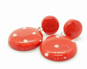 Red Polka Dot Dangle Earrings, Polymer Clay Earrings, Lightweight Jewelry, Polka Dots